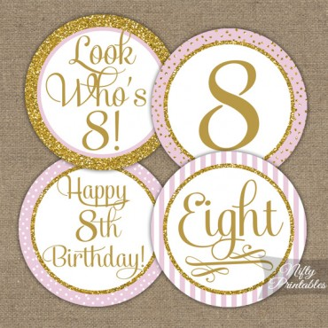 8th Birthday Cupcake Toppers - Pink Gold