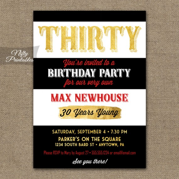 30th Birthday Invitations - Black Stripes Gold