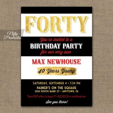 40th Birthday Invitations - Black Stripe Gold