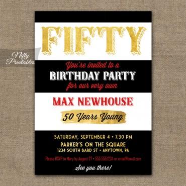 50th Birthday Invitations - Black Stripe Gold