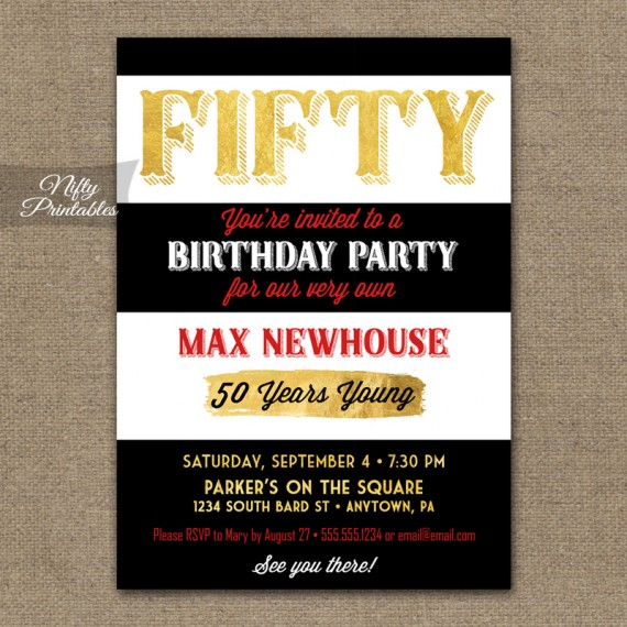 50th Birthday Invitations - Black Stripe Gold