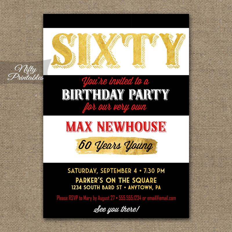 60th Birthday Invitations - Black Stripe Gold - Nifty Printables