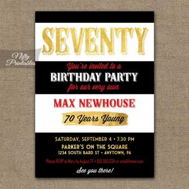 70th Birthday Invitations - Black Stripe Gold