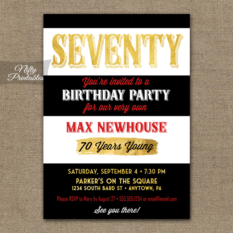 70th Birthday Invitations - Black Stripe Gold