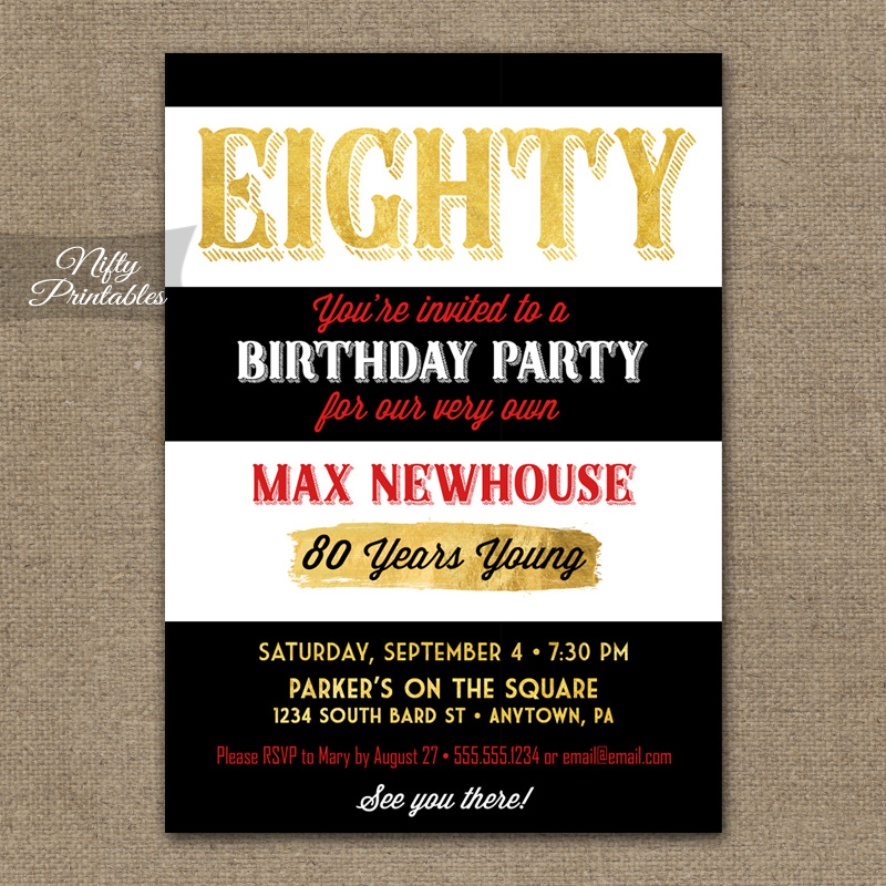 80th Birthday Invitations Black Stripe Gold