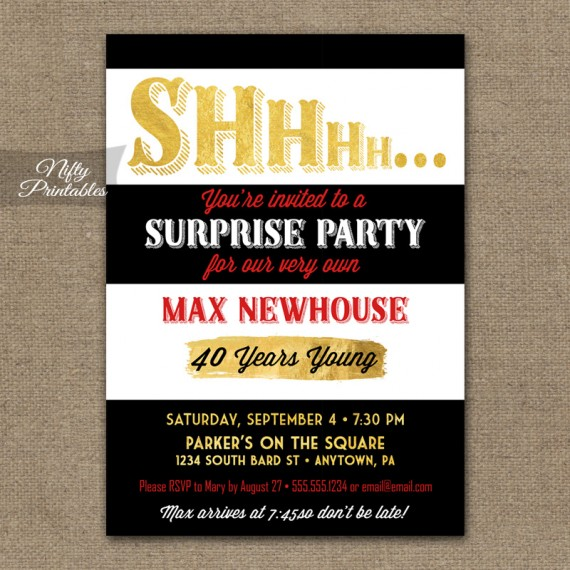 Black Gold Stripe Surprise Party Invitations