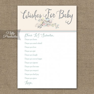 Baby Shower Wishes For Baby Game - Floral Bouquet