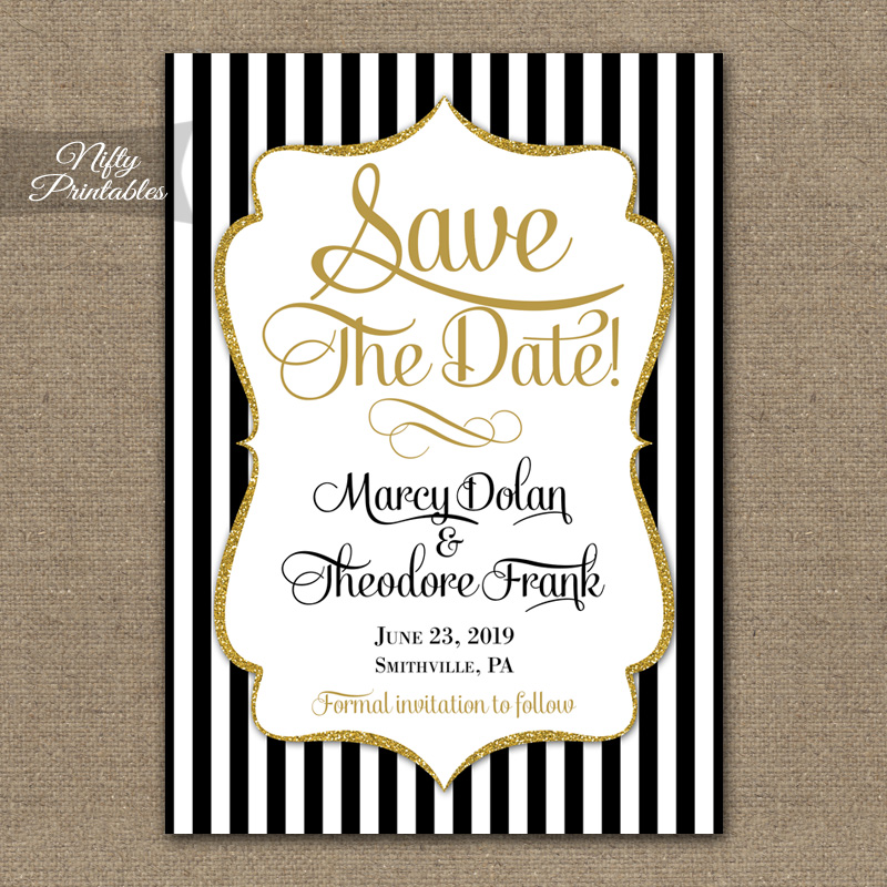 Black Gold Stripe Save The Date