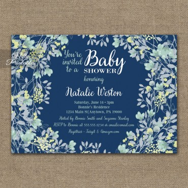 Floral Navy Blue Baby Shower Invitations