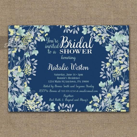 Navy Blue Floral Bridal Shower Invitations