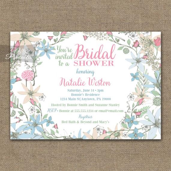 White Floral Bridal Shower Invitations