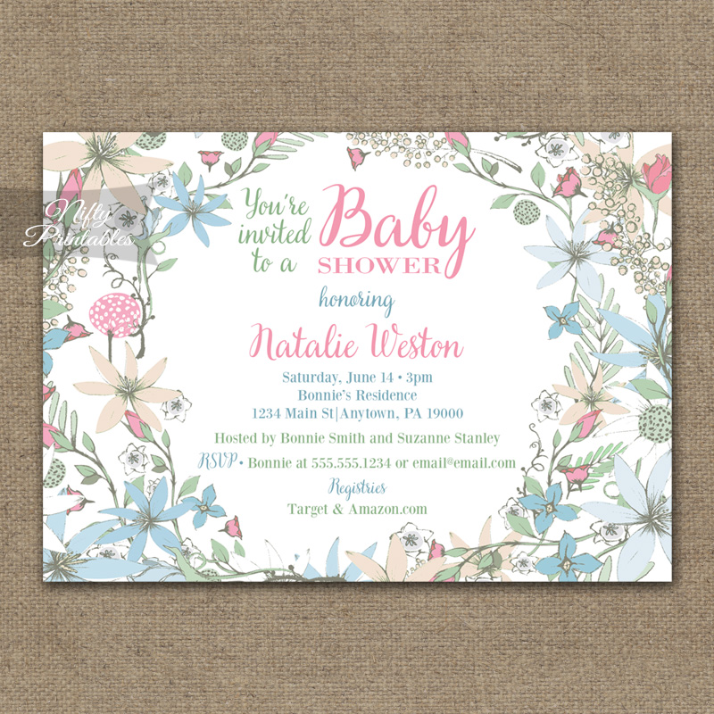 Floral White Baby Shower Invitations