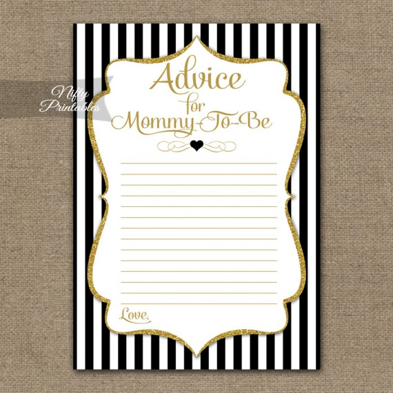 Advice For Mommy Baby Shower Game - Black Gold