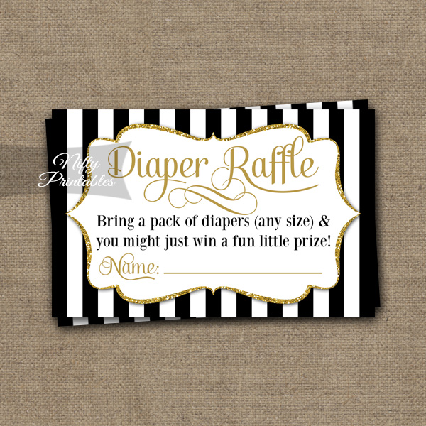 Diaper Raffle Baby Shower - Black Gold