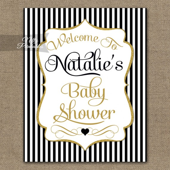 Black Gold Neutral Baby Shower Welcome Sign