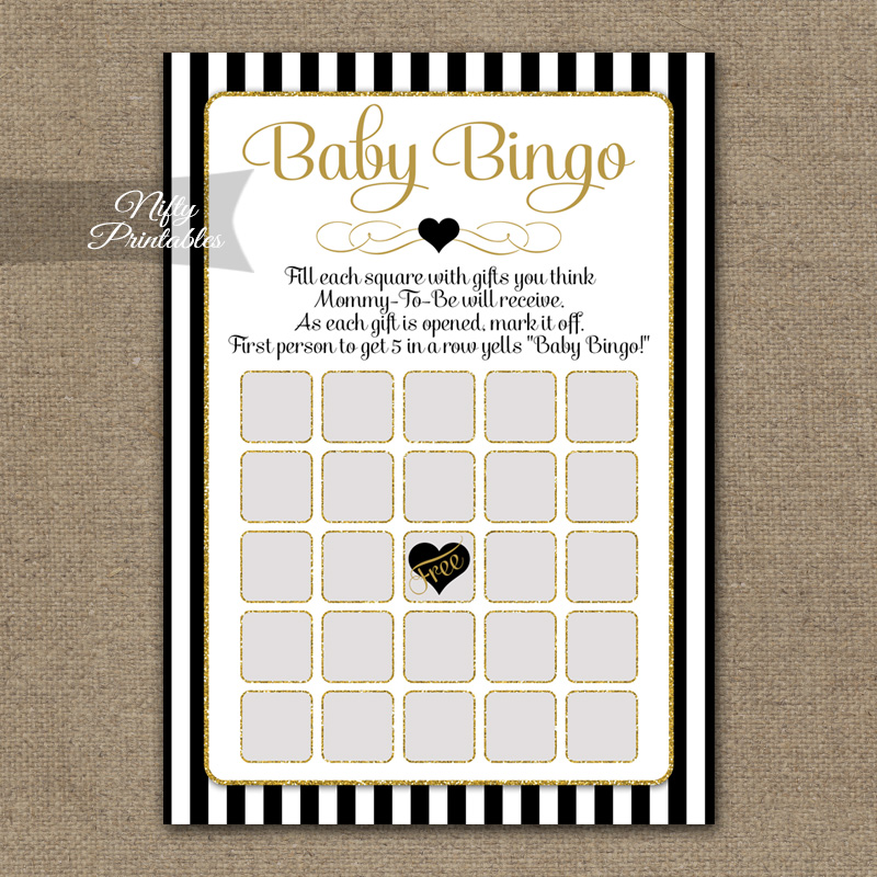 Baby Shower Bingo Game - Black Gold