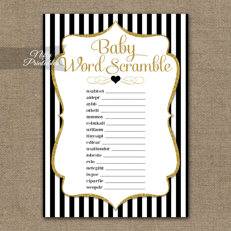Baby Shower Word Scramble Game - Black Gold