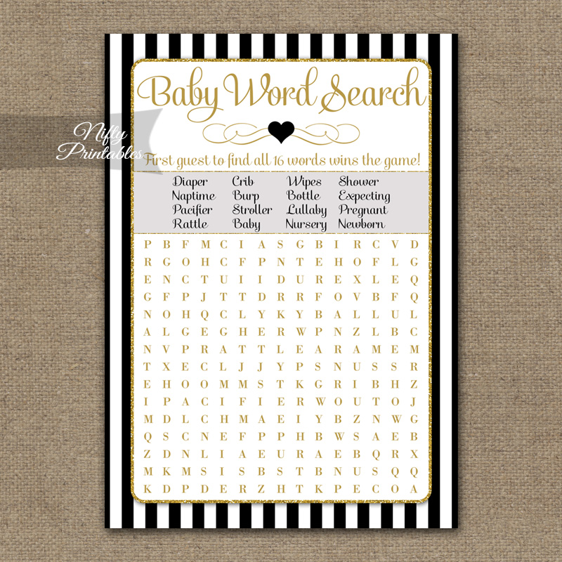 Baby Shower Word Search Game - Black Gold