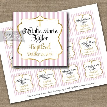 Pink Gold Baptism Favor Tags