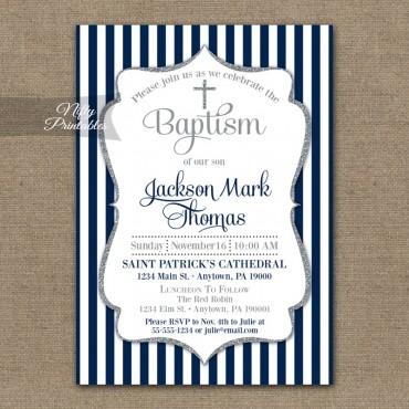 Navy Blue Baptism Invitations - Boys Silver