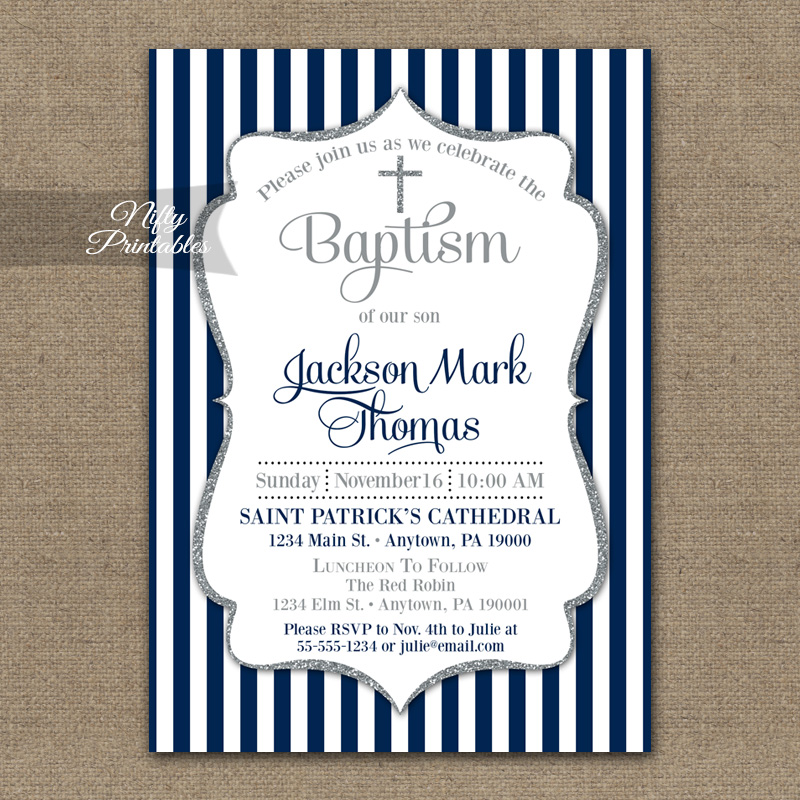 Navy Blue Baptism Invitations - Boys Silver