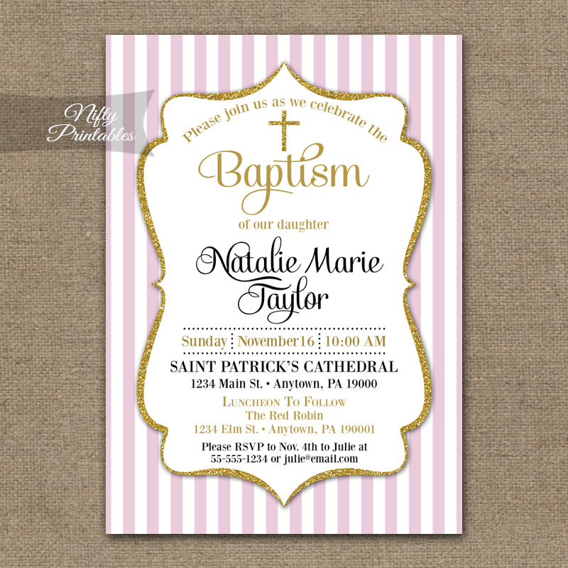 Pink Gold Baptism Invitations