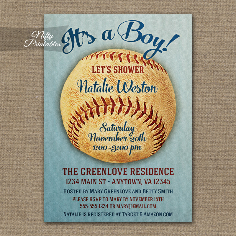 Baseball Baby Shower Invitations - Vintage Sports