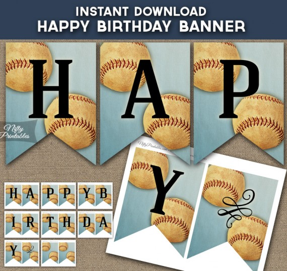 Baseball Happy Birthday Banner - Vintage Sports
