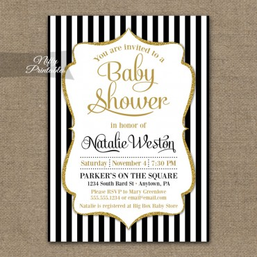 Black White Stripes Gender Neutral Shower Invitations
