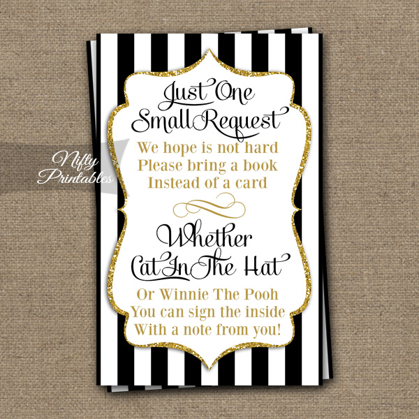 Bring A Book Baby Shower Insert - Black Gold