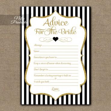 Bridal Shower Advice Cards - Black Gold