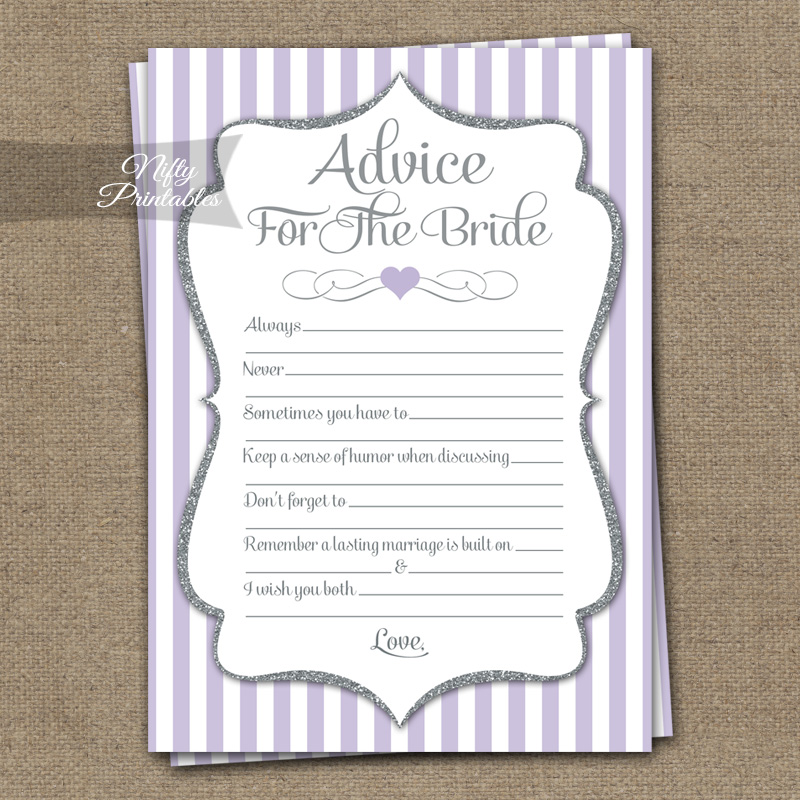 Bridal Shower Advice Cards - Lilac Silver