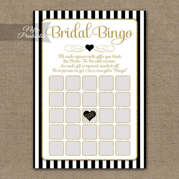 Bridal Shower Bingo Game - Black Gold