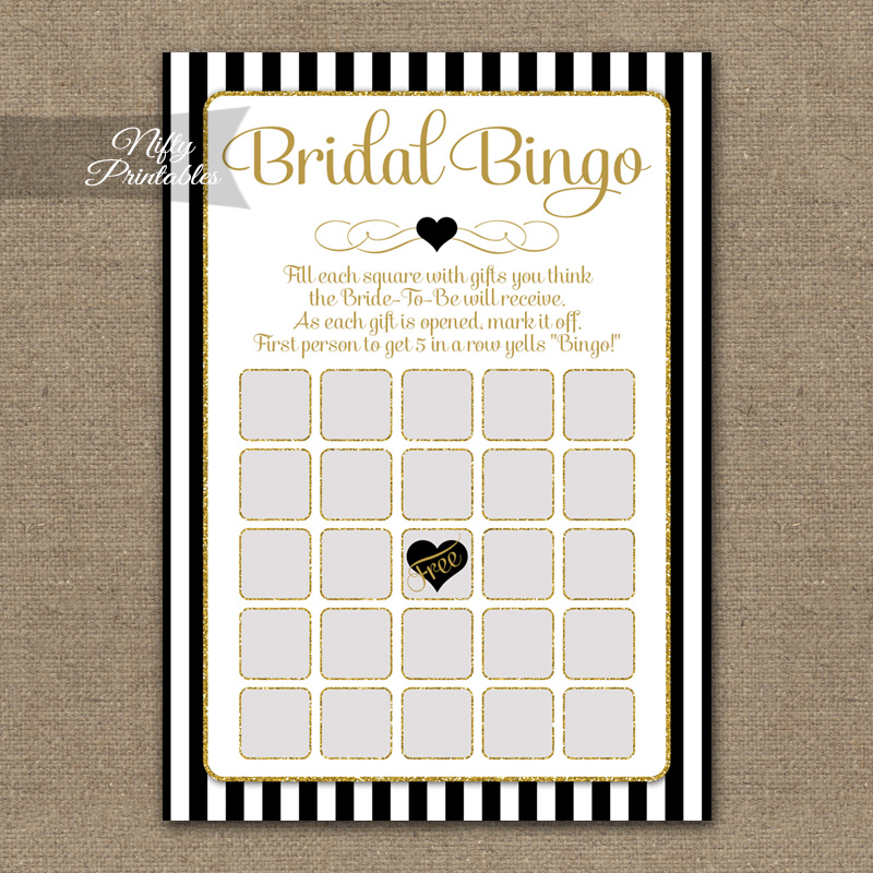 Bridal Shower Bingo Game - Black Gold