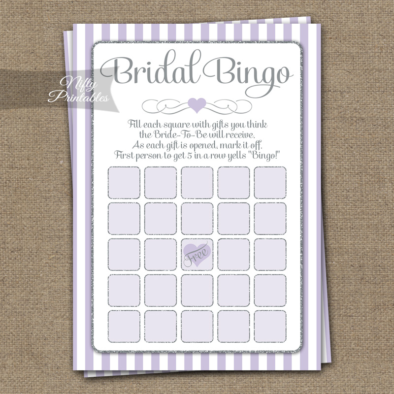 Bridal Shower Bingo Game - Lilac Silver