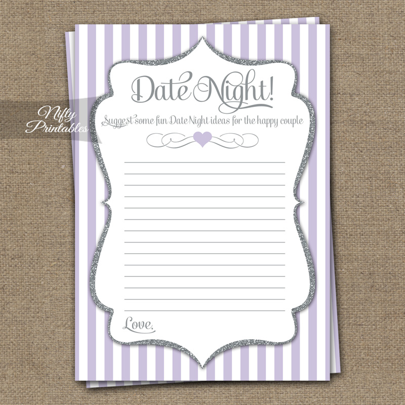 Date Night Ideas Cards - Lilac Silver