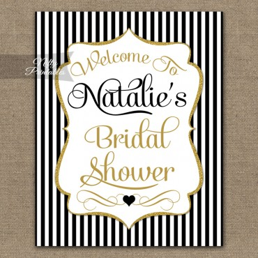 Black Gold Bridal Shower Welcome Sign