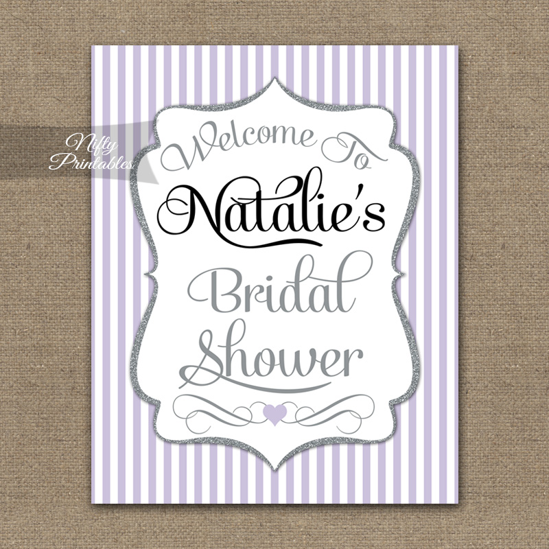 Lilac Silver Bridal Shower Welcome Sign