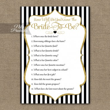 How Well Do You Know The Bride Shower Game - Black Gold