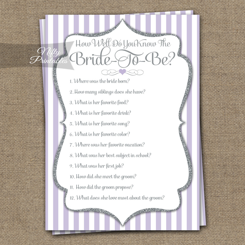 How Well Do You Know The Bride Shower Game - Lilac Silver