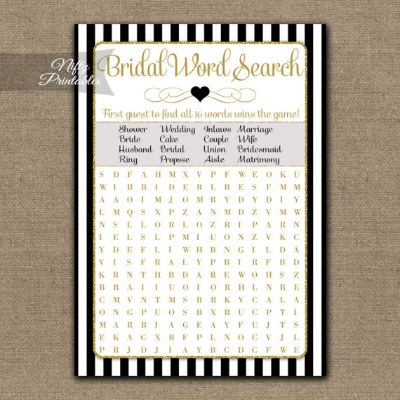 Bridal Shower Word Search Game - Black Gold