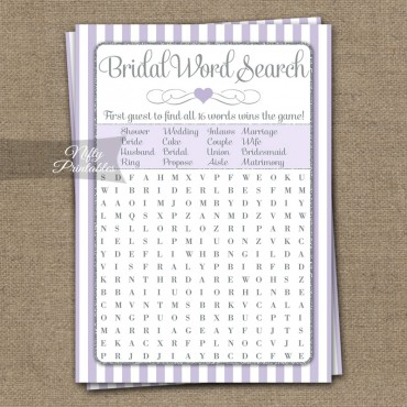 Bridal Shower Word Search Game - Lilac Silver
