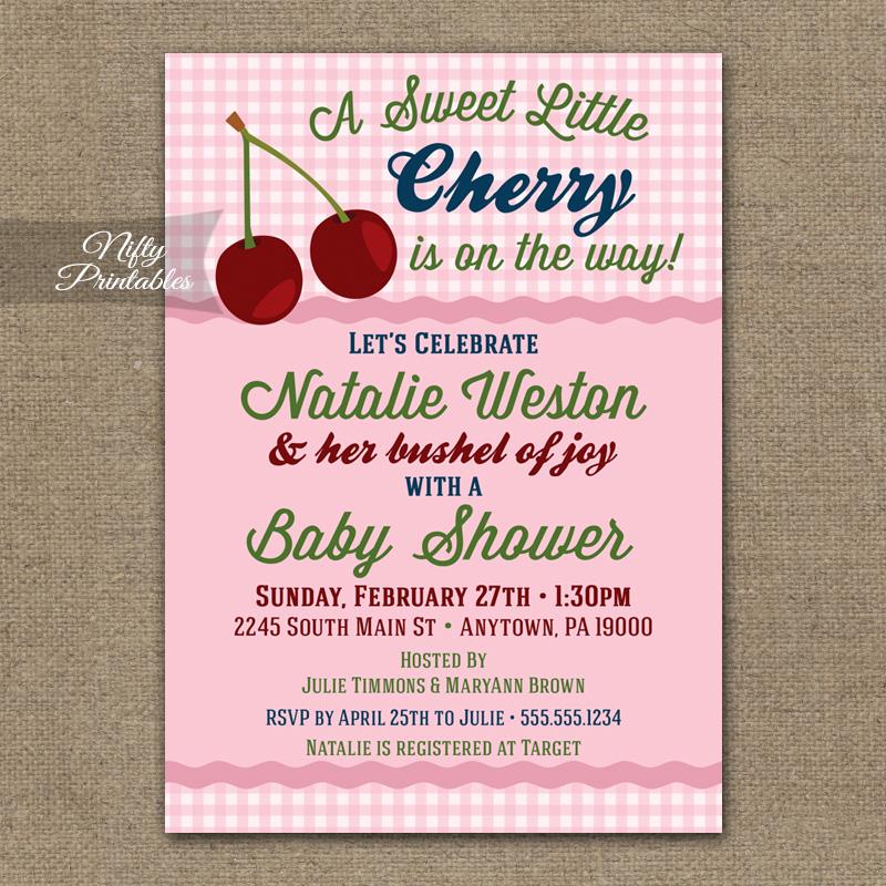 Cherry Baby Shower Invitations