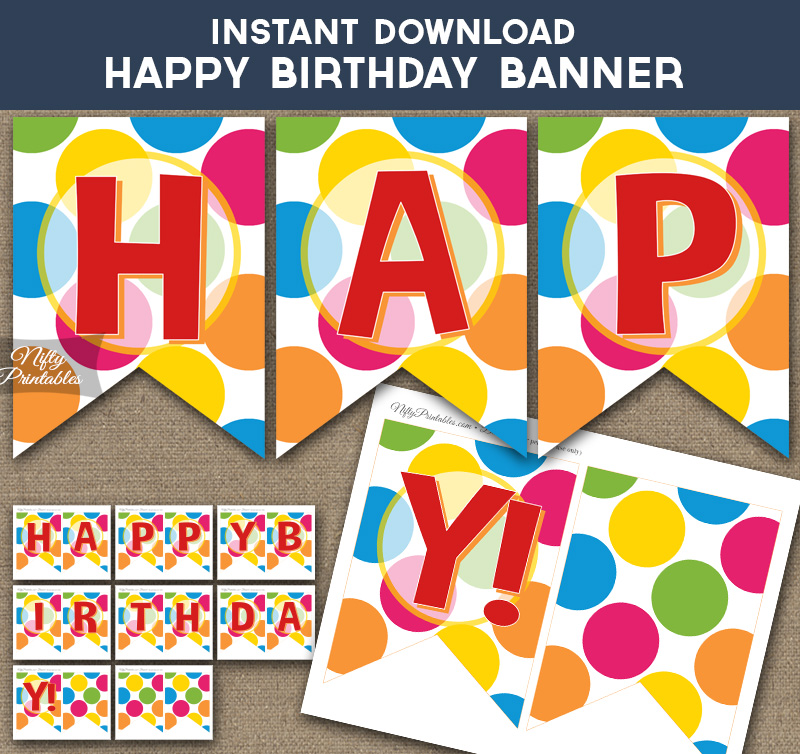 Happy Birthday Banner - Colorful Dots