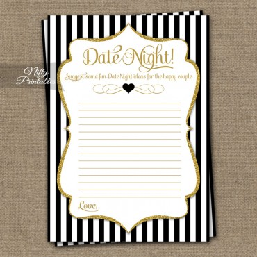 Date Night Ideas Cards - Black Gold