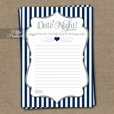 Date Night Ideas Cards - Navy Blue Silver