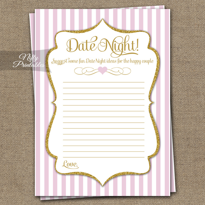 Date Night Ideas Cards - Pink Gold