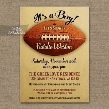 Football Baby Shower Invitations - Vintage Sports