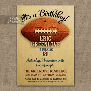 Football Birthday Invitations - Vintage Football