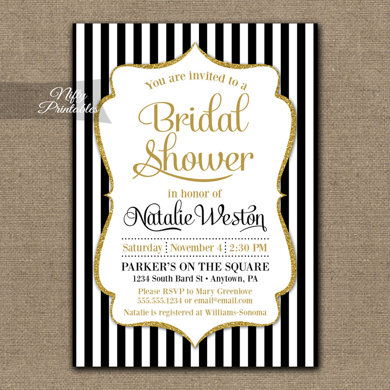 Black Gold Bridal Shower Invitations